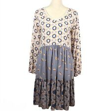 Matilda Jane Visionary Tiered Boho Dress Floral Print Blue/Beige Size XS