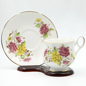 Vintage Royal Dover Bone China November Chrysanthemum Teacup & Saucer England
