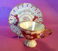 Royal Sealy Pedestal Cup & Reticulated Saucer - White Luster - Pink Gold - Japan