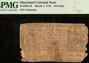 1770 $1/6 DOLLAR BILL MARYLAND COLONIAL CURRENCY NOTE OLD PAPER MONEY PMG 8