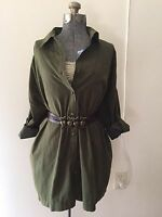 WOMENS: Oversized Military Fatigue Button-down Tunic Dress *SZ.S/M (OLIVE)