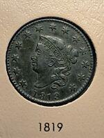 1819 Coronet Head Large Cent Ch AU Beauty
