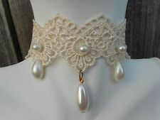 IVORY LACE AND FAUX PEARLS CAMEO CHOKER NECKLACE- VICTORIAN, EVENING, BRIDAL, N6