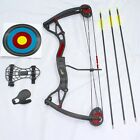 """NEW Kids Compound Bow 5lbs to 22lbs,17""""-26"""" """"Buster"""" Camo or Black Bow & Arrow"""