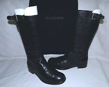 JIL SANDER Genuine Leather Pull on Boots-Size 37,1/2M-Black-Good Condition-Nice!