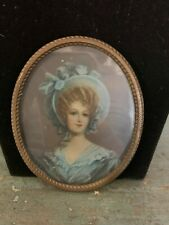 ANTIQUE MINIATURE PORTRAIT PAINTING ON CELLULOID  LADY IN BLUE SIGNED
