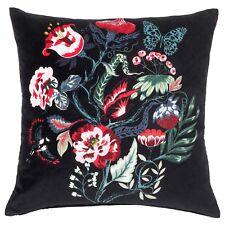 ikea Saralena Cushion Multi/Black 50x50cm Velvet Cotton Floral with Inner Cushio