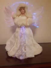 """Elegant Fiber Opticl Tree Topper 14""""  All White Winter Angel. Color Changing."""