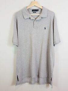 RALPH LAUREN Mens Size XL Polo Classic Fit S/L Grey Polo Shirt