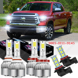 White LED Headlight Kit for Toyota Tundra 2007-2013 Hi/Low Beam + Fog Light Bulb