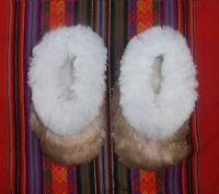 Unisex Beige Baby Alpaca Slippers. Handmade on Alpaca Fiber. Size: 6.5-10.