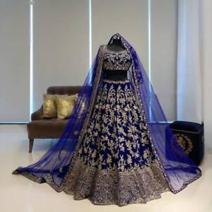 Bridal Blue Lengha Choli Indian Pakistani Wedding Skirt Lehenga Blouse Ghagra
