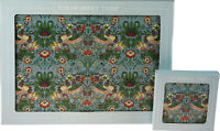 Set Of 4 Strawberry Thief William Morris Design Dinner Place Mats And Coasters