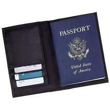 Solid Black Genuine Leather Passport Cover, Men or Womens Travel ID Card Wallet
