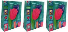 Lot de 3 sacs cadeaux - Tulipes 17 x 12.5  x 5.5cm -  pochettes toutes occasions