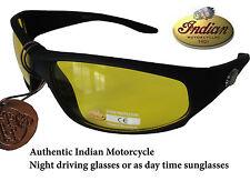 Indian Motorcycle Yellow Night & Day Driving Sunglasse  Black Wraparound Plastic