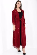 Ladies Lace Pearl Cardigan Women Kimono Open Front Abaya Long Maxi ...