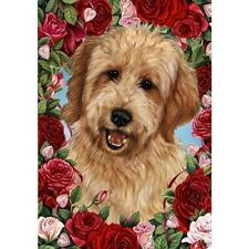 Roses House Flag - Red Goldendoodle 19270