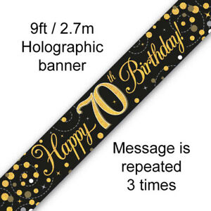 70th Birthday Banner Party Decoration Black & Gold Age 70
