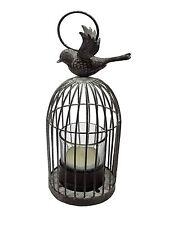 BIRDCAGE BIRD CAGE RUSTIC TEALIGHT CANDLE HOLDER GLASS TUMBLER 19 X 8 X 8CM