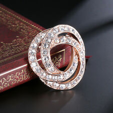 Simple Brooch Rose Gold Breast Pin Crystal Corsage Man Woman Jewelry Gift Unisex