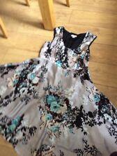 Rare Monsoon Grey Oregan Floral Silk Rockabilly Dress Size 16 Pristine  Hols