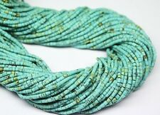 """10 Strands Turquoise Smooth Loose Tiny Tube Gemstone Seed Bead Strand 13"""" 2mm"""