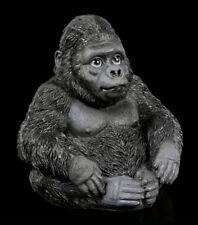 Gorilla Figur - Sitzend - Silberrücken Affe Tierstatue Deko