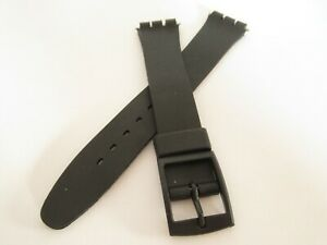 Replacement Black Resin 17mm Watch Strap for Swatch includes fitting pins