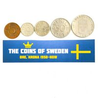 SWEDEN SET OF 5 COINS KING CARL XVI GUSTAF SWEDISH CURRENCY COLLECTION LOT