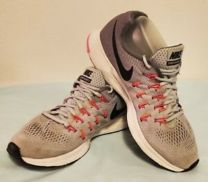 Nike Zoom Pegasus 33 Womens Athletic Running Shoes Size 10 Gray Pink Orange