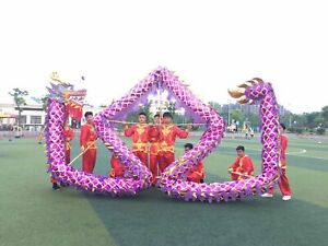 32.8 feet student Chinese DRAGON DANCE Gold plated Parade Costume stage prop