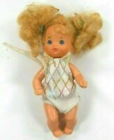"Mattel Baby Doll 4.5"" Girl Heart Family 1976 In Jumper Vintage"