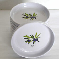 New 8 Xcell Dipping Sauce Bowls Olive White Plastic Oil Dip Plates Condiments