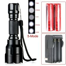 3000LM C8 CREE XM-L T6 LED 5-Mode Flashlight Torch Lamp+2x18650+US Charger Fine