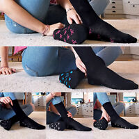 5 or 10 Pack Womens Black Cotton Socks with Pattern Sole Bows Hearts and Dots