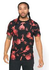 Calvin Klein CK One Men's All Over Logo Rose Print Cotton Crew Neck T-Shirt NWT