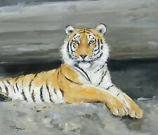 Original Oil painting - wildlife art - tiger portrait - by j payne
