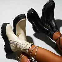 Chelsea Ankle Boots Damenschuhe Reißverschluss Schnürung Stiefeletten Freizeit