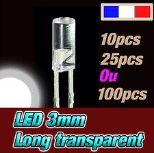 215BL# LED 3mm blanc cylindrique long- dispo 10, 25 ou 100pcs * white flat TOP