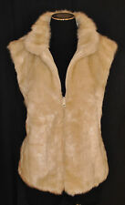 Vtg 90s BOHO CHIC Cream Soft Faux Fur Cropped Dress Vest Jacket Coat Sz L / XL