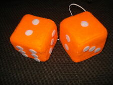 Orange and White Dots Car Dice--3 Inch