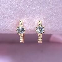 18k yellow gold gp 925 silver simulated diamond stud kids huggie earrings small