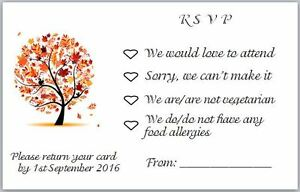 20 Small RSVP Cards to Accompany Invites with Envelopes - Autumn Tree