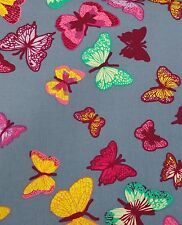 BUTTERFLY BUTTERFLIES COLOURFUL fabric cotton blue pink sold/PER METRE/