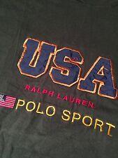 New listing Vintage Polo Sport Ralph Lauren Green Blue Usa Made American Flag T-Shirt Sz Xl