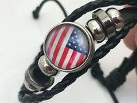 US Flag Bracelet Patriot Black Leather Adjustable Unisex Wrist Band