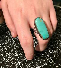 Navajo Native American Sterling Turquoise Minimalist Big Bold Statement Ring Sz8