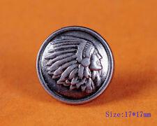 20X 17mm Western Equestrian Cowboy Engraved Indian Skull Leathercraft Conchos