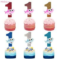 Ocean Theme Party Supplies Shark Cake Toppers Glitter Cupcake Topper Baby Shower